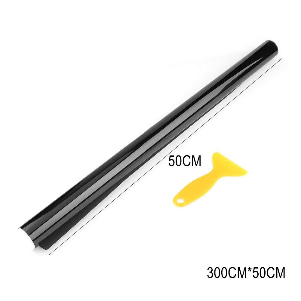 Cristal con rascador 15/% 20/% 5/% 3 m x 50 cm Color Negro para Coche Everpert Rollo de Vinilo para Ventana de Coche 35/% Oficina 50/% VLT 25/% Ventana