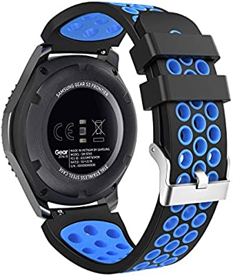 MoKo Compatible Watch Band Replacement Gear S3, Soft Silicone Perforated Replacement Sport Strap Fit Samsung Gear S3 Frontier / S3 Classic/Galaxy ...