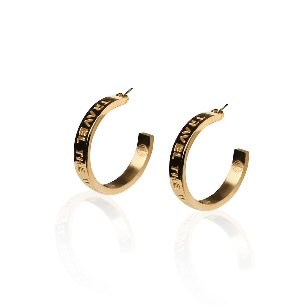 24K Gold or Rhodium Plated TRAVEL THE WORLD Hoops Travel Jewelry