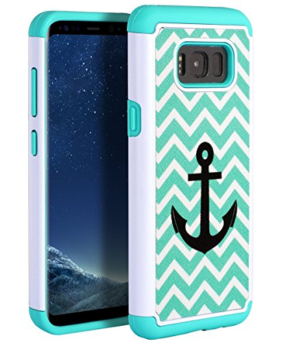 Samsung Galaxy S8 Plus Case,TIANLI[Slim]Shockproof Dual Layer Anti-Scratch Case High Impact Resistant Protective Lightweight Case With Cute Pattern for Galaxy S8 Plus,Anchor Green - Samsung Galaxy Light Cases Anchor