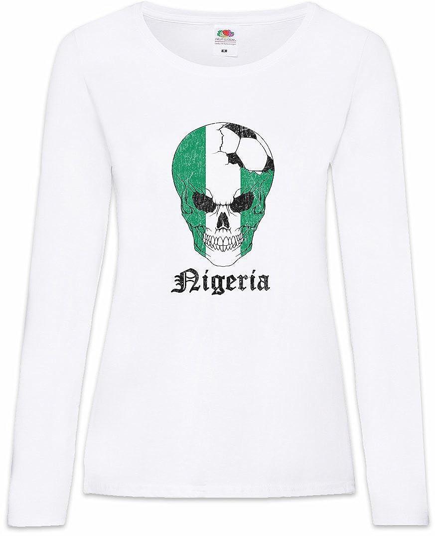 Nigeria Football Skull I Mujer Camiseta de Manga Larga Tamaños XS ...