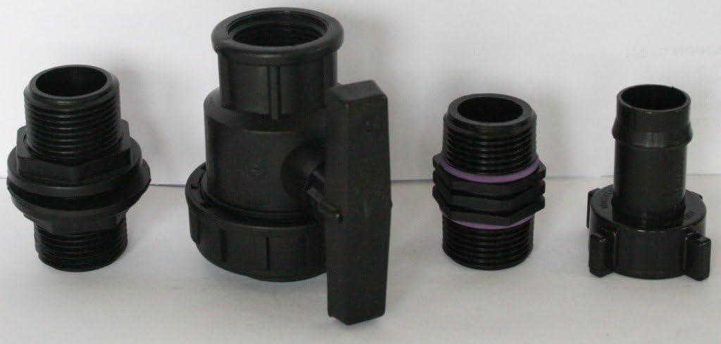 IBC-Container-Zubeh/ör-Regenwasser-Tank-Adapter-Fitting-Kanister AMTDVN/_9482+288 Tankdurchf/ührung mit /Überwurfmutter 1 und Kunststoffkugelhahn Doppelnippel und Kunststofft/ülle
