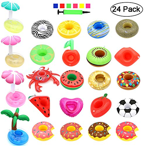(Angela&Alex Inflatable Drink Holders, 24 PCS Drink Floats Fruits Palm Cup Holders Coasters for Pool Water Fun Beach Swimming Party Favors Supplies)