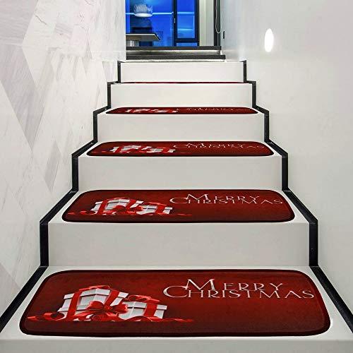 Sunshinehomely Christmas Decoration 1Set StepBasic Non-Slip Coral Fleece Resistant Carpet Stair Mat (C)