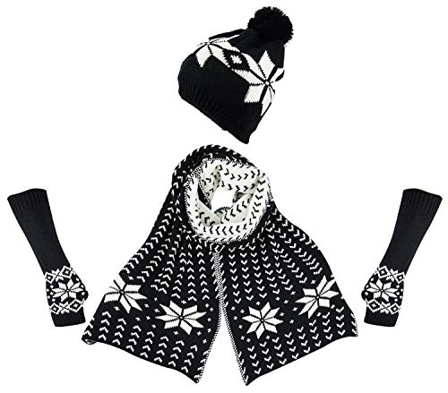Bienvenu Women's Snowflake Hat Gloves and Scarf Winter Set,Black