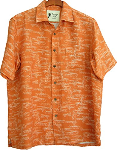 d Hawaiian Camp Shirt Orange Floral Casual (Medium) ()