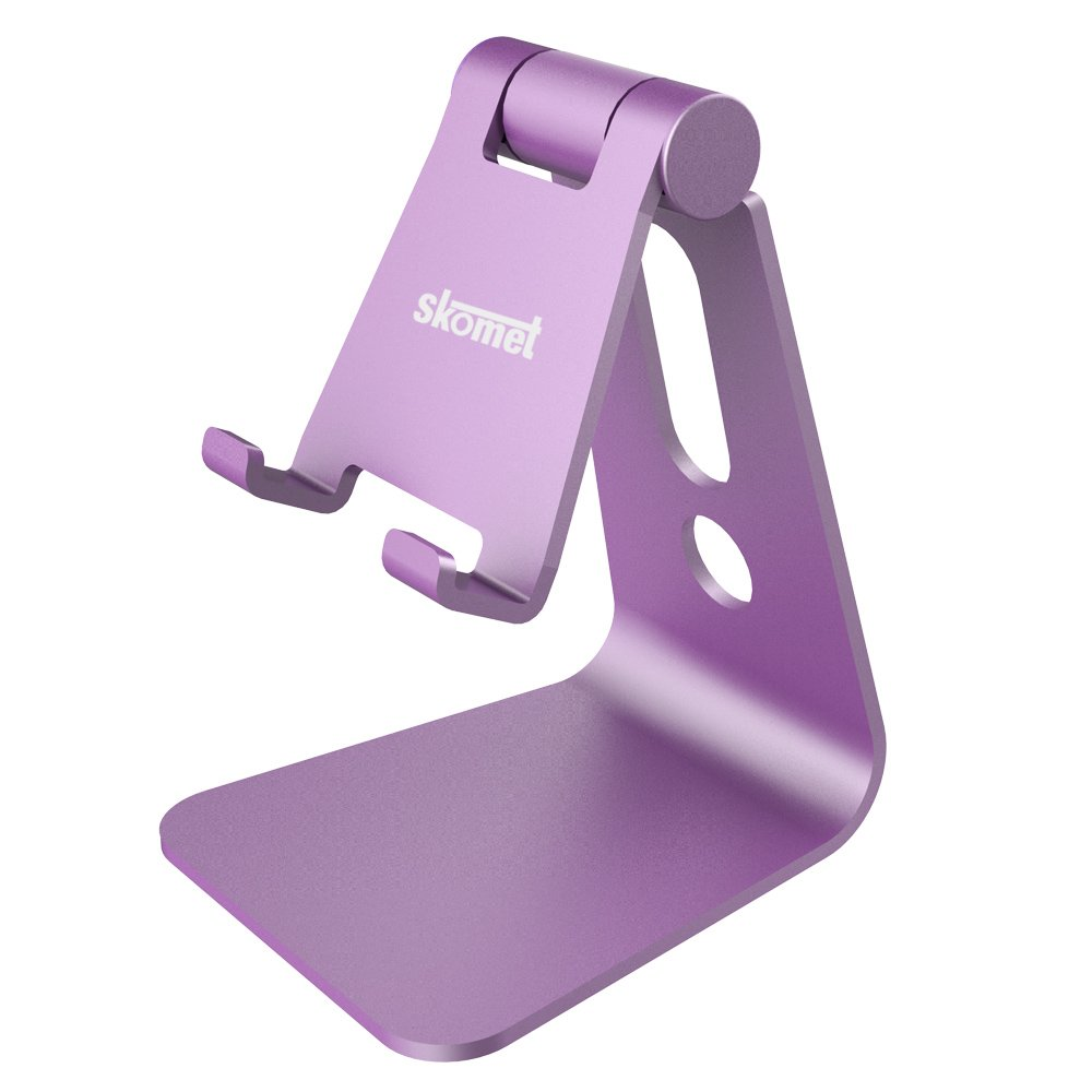Skomet aluminum adjustable multi-angle cell phone stand, holder, dock - for iPhone, Samsung, and other android smartphone devices - Clay Purple