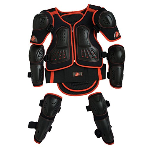 Kids Motorcycle Armor Suit Dirt Bike Chest Spine Protector Back Shoulder Arm Elbow Knee Protector Motocross Racing Skiing Skating Body Armor Vest Sports Safety Pads 3 Colors (Red, XS)