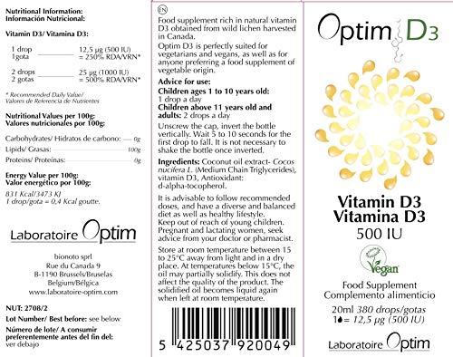 Optim D3 Vitamine D3 naturelle, végétale et vegan – 500UI par goutte – Flacon compte gouttes de 20ML – enregistré à la…