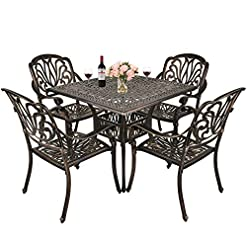 Garden and Outdoor TITIMO 5-Piece Outdoor Furniture Dining Set, All-Weather Cast Aluminum Conversation Set Includes 4 Chairs and 1 Square… patio dining sets