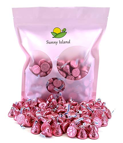 - Sunny Island Bulk - Hershey's Kisses Pink Foil Wrapping Milk Chocolate, 2 Pounds