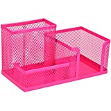 Homecube Space Saving Mesh Office Supplies Desk Organizers/ Pen Holder 3 Sorter Sections Hot Pink