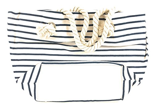 Canvas Bag with Midnight Blue Stripes, Zipper top and Liner. - Spinnaker Collection - Handbag. Small Tote or Purse (Louis Handbags Vuitton Cheap)