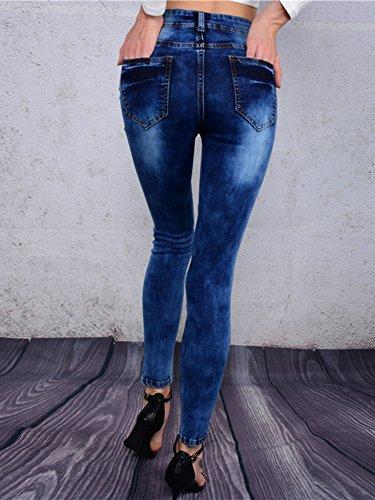 Donne Sigaretta Blu Pantaloni Marino Jeans Skinny Strappati Denim Casuale Scarni TTrqwxA