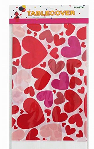 Salome Idea 3-Pack Rectangle Table Cover, Birthday Party/Banquet/Occasion Disposable PE Tablecovers- Printed Table Clothes-70x42 inch - Hearts Disposable