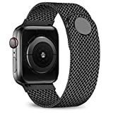 jwacct Compatible for Apple Watch Band 38mm 40mm, Adjustable Stainless Steel Mesh Wristband Sport Loop for iWatch Series 5 4 3 2 1,Black
