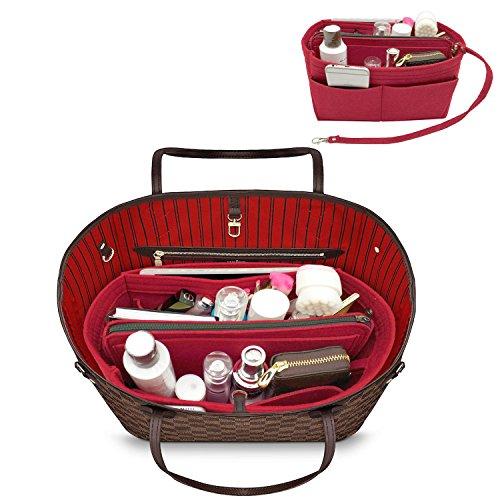 YOOXI Purse Organizer, Multi-Pocket Felt Handbag Organizer, Purse Insert Organizer with Inner Removable Bag Vine Red Large by YOOXI