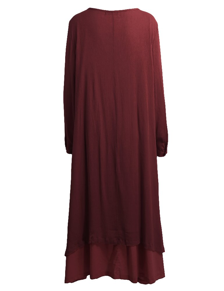 Romacci Women Boho Dress Casual Irregular Maxi Dresses Layered Vintage Loose Long Sleeve Linen Dress,S-5XL by Romacci (Image #3)
