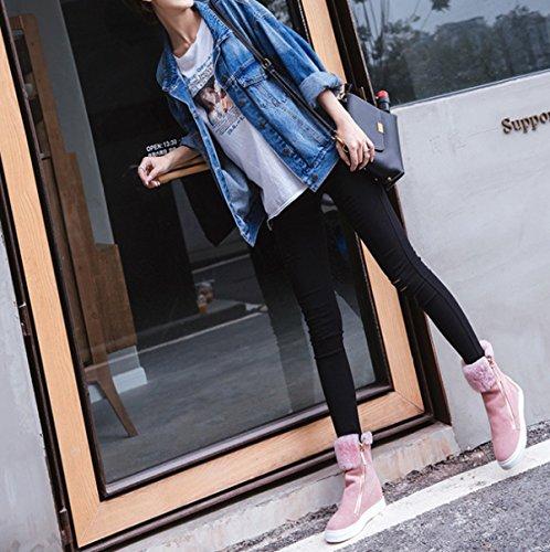 Aumento Scarpe Nuova Degli Calde Lampo Femminile Stivali Sweet Inside Pink Neve Chiusura Scarponi GSHGA Da 1Uqzz7