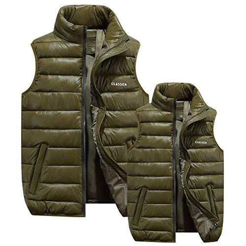 Down Comfortable Collar Waisted Side Battercake Vest Grün with Zipper Armee Vest Outerwear Waistcoat Size Pockets Mens Coat Stand Plus 4A4nIO
