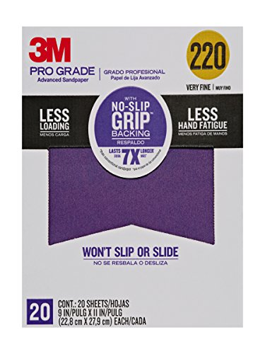 3M Pro Grade No-Slip Grip Advanced Sandpaper, 9 X 11-Inches, 220 Grit, 20/Pack (220 Pack Pro)
