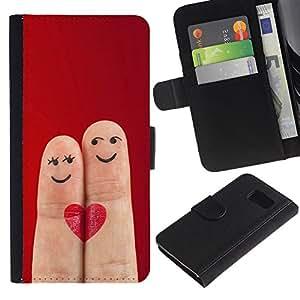 Ihec-Tech / Flip PU Cuero Cover Case para Samsung Galaxy S6 SM-G920 - Funny Love Fingers Cute Heart