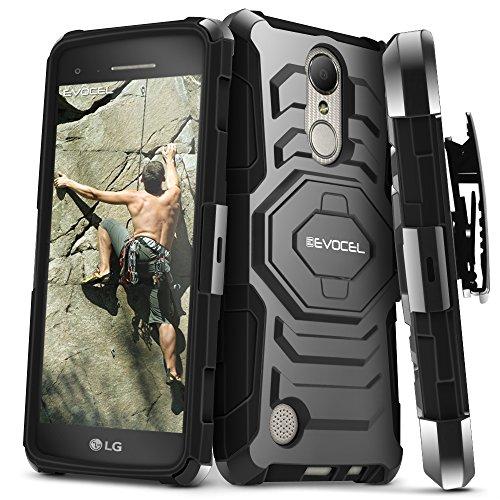 LG Aristo Case, Evocel Rugged Holster Dual Layer Case [Kickstand][Belt Swivel Clip] For LG Aristo (MS210) / LG K4 (2017), Black (EVO-LGV3-XX01)