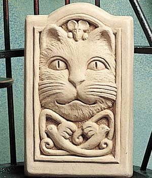 Cast Stone Celtic Pattern Kitten Cat, Feline, Mouse, Mice, Flying Birds – Collectible Plaque – Concrete Sculpture – Natural Patina Finish Review