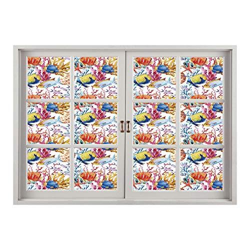 SCOCICI Wall Mural, Window Frame Mural/Ocean Animal Decor,Coral Reef Scallop Shells Fish Figures Sea Plants Polyp Murky Nautical Decor,Multi/Wall Sticker Mural (Star Polyp Coral)