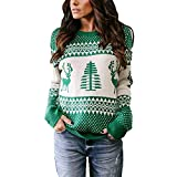 Christmas Ugly Sweaters for Women,WUAI Clearance Casual Winter Warm Slim Fit O-Neck Christmas Tree Fashion Tops(Green,Size L)