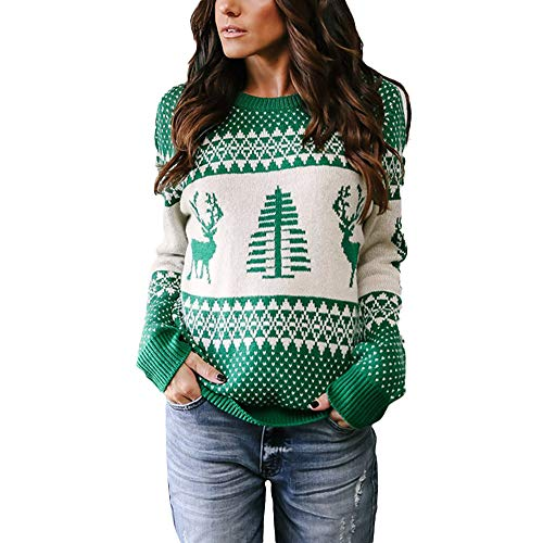 AIEason-women blouse Women Christmas Sweater Long Sleeve O-Neck Christmas Tree Knitting Sweater Tops