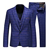 WEEN CHARM Men's 3-Piece Suit One Button Plaid Slim Fit Blazer Jacket Coat Vest & Pants