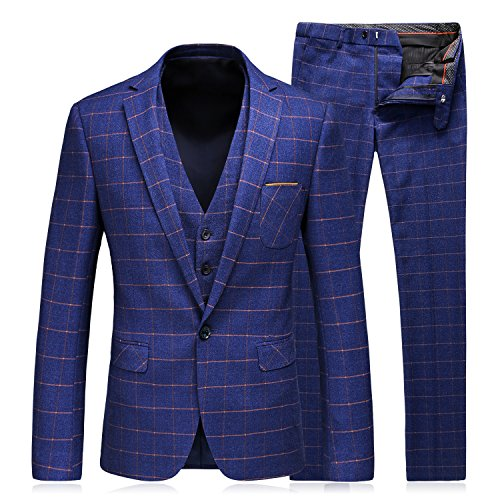 Blue Plaid Suit (WEEN CHARM Men's 3-Piece Suit One Button Plaid Slim Fit Blazer Jacket Coat Vest & Pants)
