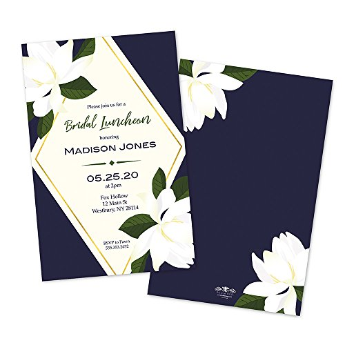 Bridal Luncheon Invitations (Navy Floral Diamond Personalized Bridal Luncheon Invitations)