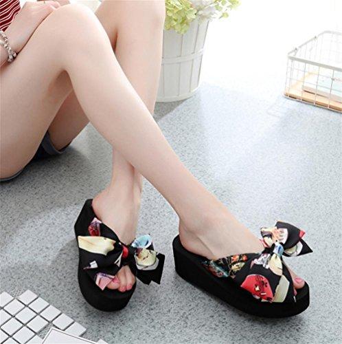 Zapatillas de deporte de las mujeres con la playa de la fricción del nudo de la mariposa del verano del pie del clip 1
