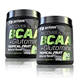 2 Pack Perfotek BCAA + GLUTAMINE Amino Acids Powder - Tropical Fruit Natural Protein Mix Drink for Muscles - 60 servings