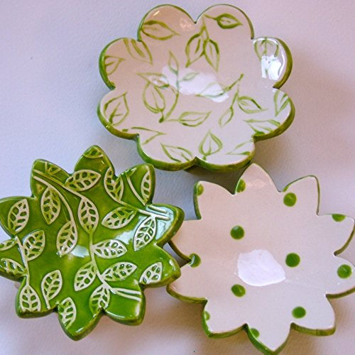 Lime green pottery Polka-Dots & Leaves -- ceramic pottery set of 3 Dot Polka Dot Candle Holder
