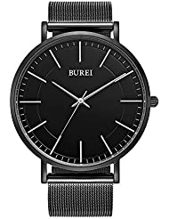 BUREI Mens Quartz Watch Full Black Minimalist Ultra-Thin Dail with Silver Hands and Milanese Mesh Band