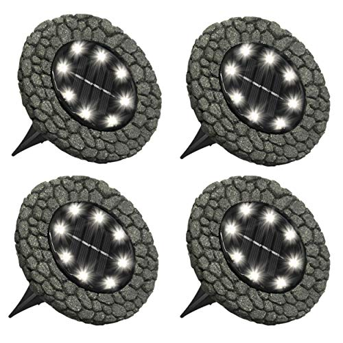 Bell+Howell Disk Lights Stone - Heavy Duty Outdoor Solar Pathway Lights - 8 LED, Auto On/Off, Water Resistant, with Included Stakes, for Garden, Yard, Patio and Lawn -As Seen on ()