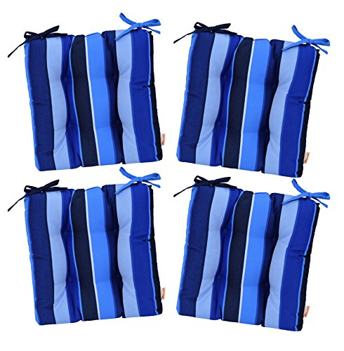 "RSH Décor Set of 4 - Indoor/Outdoor Sunbrella Milano Cobalt Blue Stripe Tufted Seat Cushions with Ties for Dining/Patio Chairs - Choose Size (19"" x 18"")"