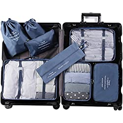 Aviddom 8 Set Packing Cubes Travel Luggage Organizer with Laundry Bag and Shoes Bag for Carry on(Navy Blue)