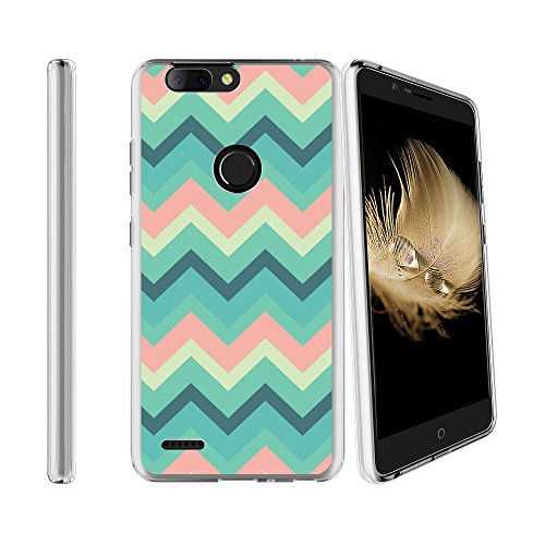 Compatible with ZTE Blade Z Max Sequoia Z982 Soft Flexible TPU Gel Skin Case [Ultra Slim] Cover - Chevron Waves