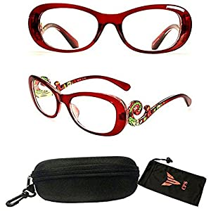 (#PSTS) Women Transparent Colorful Art Fashion Designer Trendy Reading Glasses Readers Optic Frame Clear Lens (Strength: 1.50)