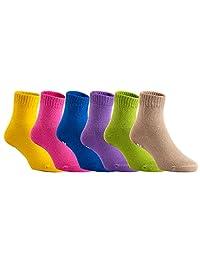 Lian LifeStyle Unisex Children 6 Pairs Pack Non Slip Pure Cotton Socks Multiple Color