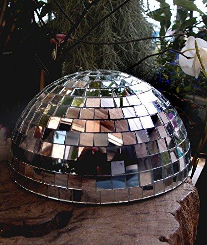 Silver Quasimoon PaperLanternStore.com 8 Inch Half Disco Mirror Ball Centerpiece