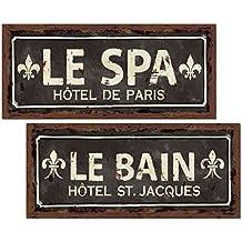 """Lovely Vintage Fleur De LIs Paris """"Le Spa"""" and """"Le Bain"""" Prints by Pel Studiot; Two 18x8in Poster Prints"""
