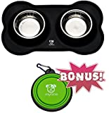 Dog Bowls Stainless Steel Set with No Spill Non-Skid Bone Silicone Mat 12 oz Perfect For Small Dogs Cats and Pets & Collapsible Travel Dog Bowl BONUS by MYNINE