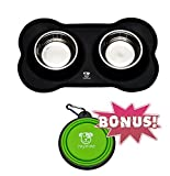 Dog Bowls Stainless Steel Dog Bowl with No Spill Non-Skid BLACK Silicone Mat 12 oz Feeder Bowls Pet Bowl for Dogs Cats and Pets & Collapsible Travel CAT Bowl BONUS by MYNINE Review