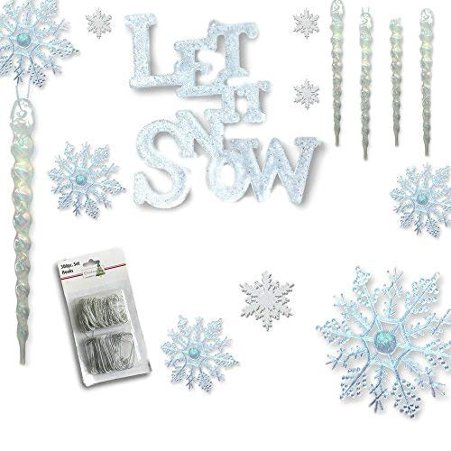 BANBERRY DESIGNS Winter Wonderland Decorations - Set of 68 Assorted Christmas Ornaments and 2 Let it Snow Sign - Snowflakes - Icicles - White Glittery Xmas Ornaments ()