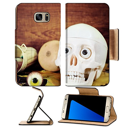 Luxlady Premium Samsung Galaxy S7 EDGE Flip Pu Leather Wallet Case IMAGE ID: 21992311 Creepy skull halloween sweets and pumpkins for Halloween party (Homemade Halloween Baskets)
